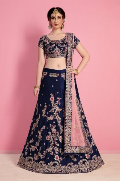 Navy blue velvet Indian wedding wear lehenga choli 823