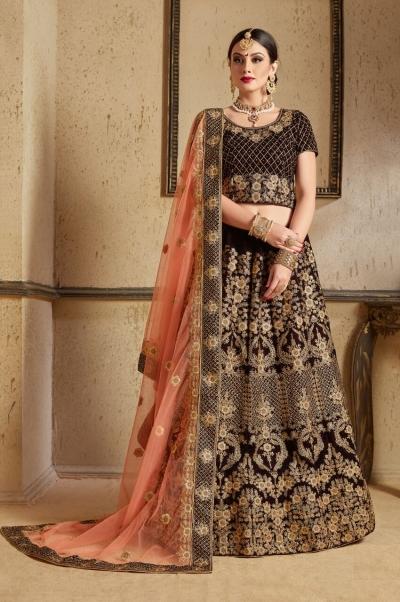 Navy blue peach Velvet Indian Wedding wear lehenga choli 1203
