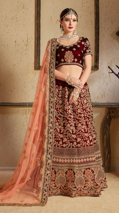 Maroon peach silk Indian Wedding wear lehenga choli 1204
