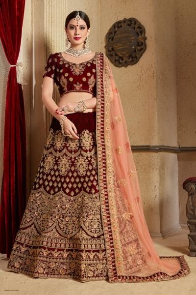 Maroon peach silk Indian Wedding wear lehenga choli 1205