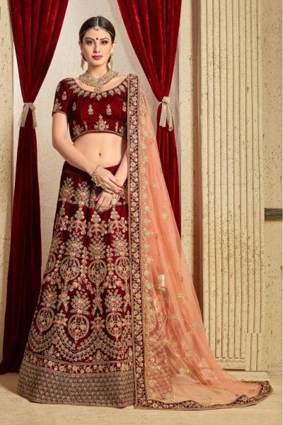Maroon peach silk Indian Wedding wear lehenga choli 1207