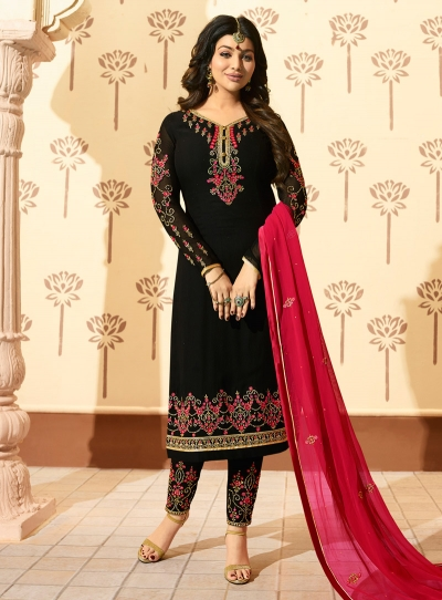 Ayesha Takia Black georgette straight cut Indian wedding pant style suit 229