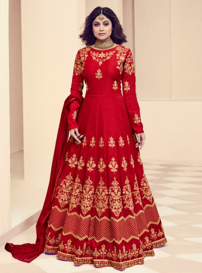 Shamita Shetty Red Color Indian Wedding anarkali 8014
