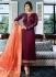 Ayesha Takia Wine color satin georgette straight cut Indian wedding salwar kameez 22121