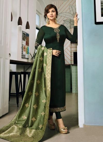Ayesha Takia Green color satin georgette straight cut Indian wedding salwar kameez 22123