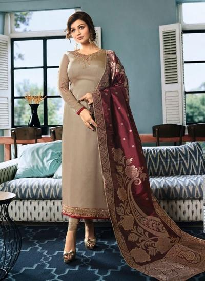 Ayesha Takia Beige color satin georgette straight cut Indian wedding salwar kameez 22124