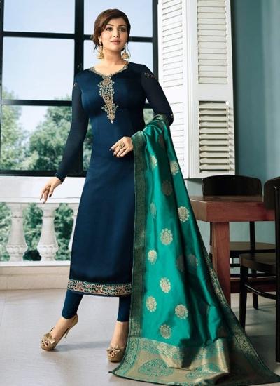 Ayesha Takia Blue color satin georgette straight cut Indian wedding salwar kameez 22125