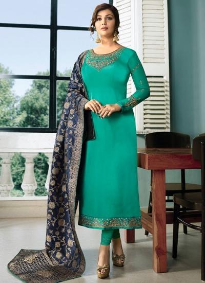 Ayesha Takia Turquoise color satin georgette straight cut Indian wedding salwar kameez 22127