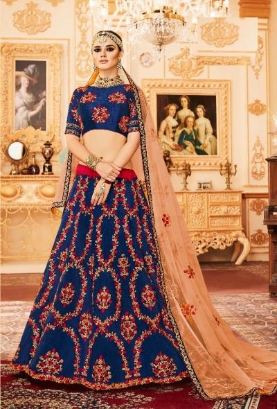 [تصویر:  Royal-blue-Silk-Indian-wedding-Lehenga-choli-002.jpg]