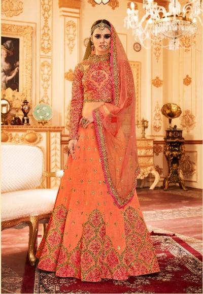 Peach Silk Indian wedding Lehenga choli 006