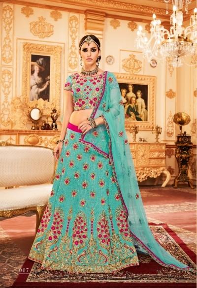 Blue Silk Indian wedding Lehenga choli 007