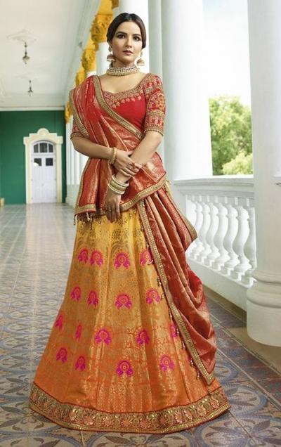 Orange red silk Indian wedding lehenga 13165