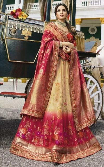 Ivory pink silk Indian wedding lehenga 13166