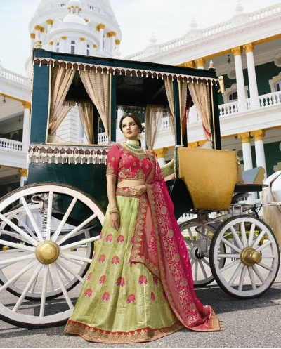 Pista green silk Indian wedding lehenga 13168
