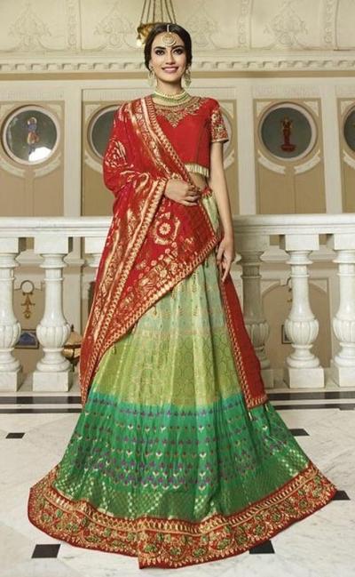 Green red silk Indian wedding lehenga 13170