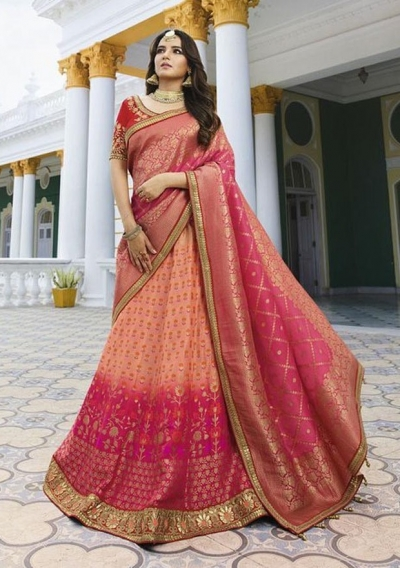 Peach silk Indian wedding lehenga 13171