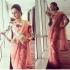 Bollywood Rashmi Desai Peach Net saree