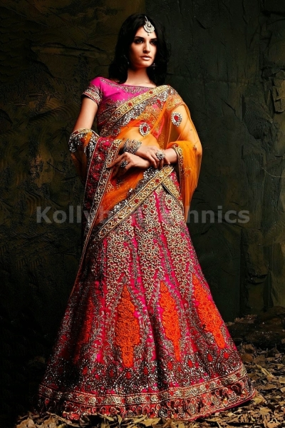 Pink and mustard colour bridal lehenga choli