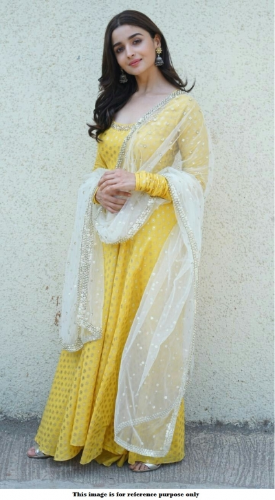 Bollywood Alia Bhatt Yellow Nylone gown