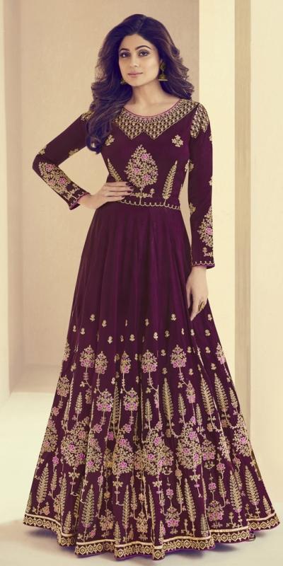 Shamita Shetty Wine Silk Wedding Anarkali Suit 8003