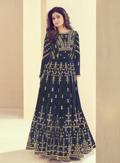 Shamita Shetty Blue Silk Wedding Anarkali Suit 8004