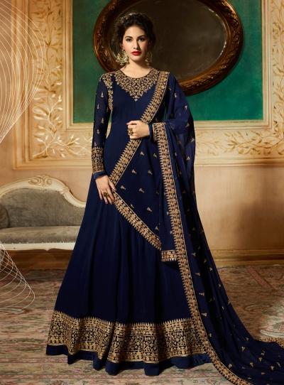 Amyra Dastur Navy Blue georgette wedding anarkali 9081