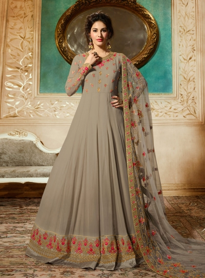 Amyra Dastur Beige georgette wedding anarkali 9082