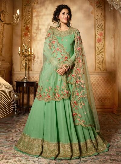 Amyra Dastur fresh green georgette wedding anarkali 9088