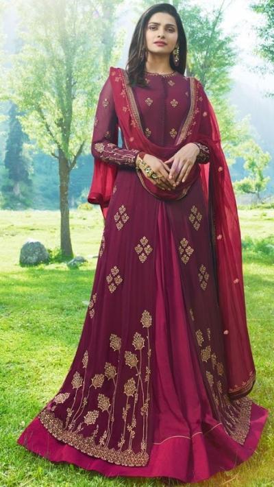 Bollywood Prachi Desai Wine Georgette Indian wedding anarkali 8071