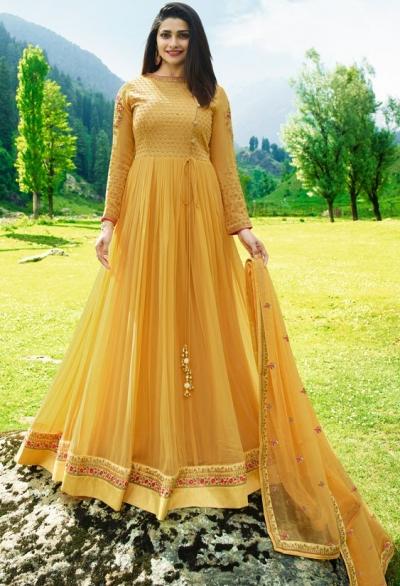 Bollywood Prachi Desai Yellow Georgette Indian wedding anarkali 8072