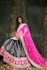 Blue and pink velvet bridal lehenga choli