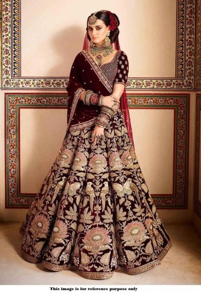 Bollywood Sabyasachi Mukherjee Inspired Maroon velvet lehenga