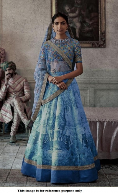Bollywood Sabyasachi Inspired Digital blue silk wedding lehenga
