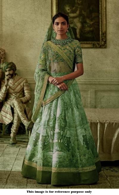 Bollywood Sabyasachi Inspired Digital green silk wedding lehenga