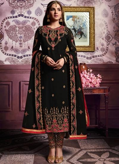 Black color straight cut salwar kameez 10064