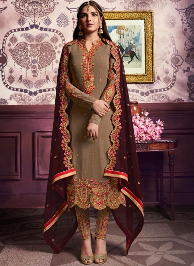 Beige color straight cut salwar kameez 10065