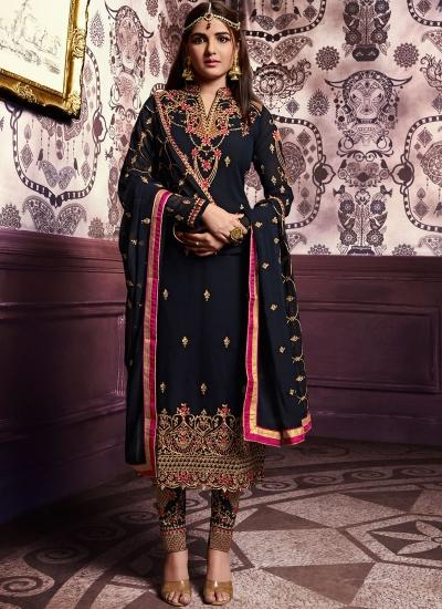 Beige color straight cut salwar kameez 10066