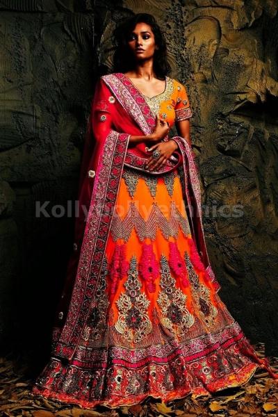 Pink and orange bridal lehenga choli