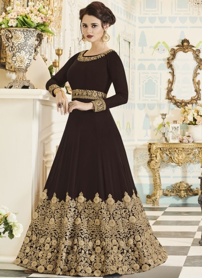 Brown georgette party wear anarkali 001I