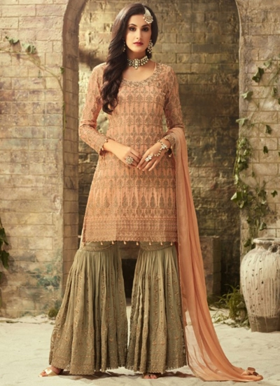 Beige Peach georgette wedding wear sharara 52002