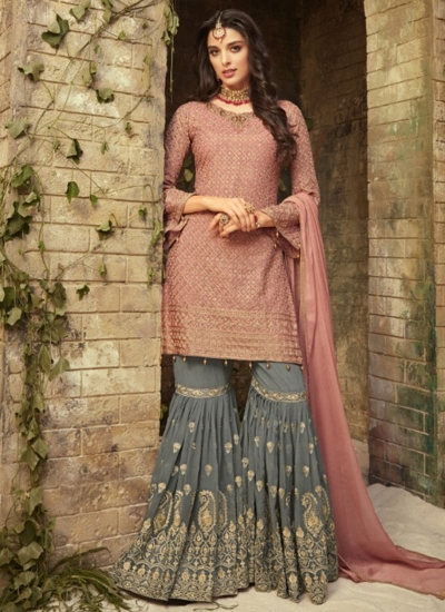 Pink grey georgette wedding wear sharara 52006