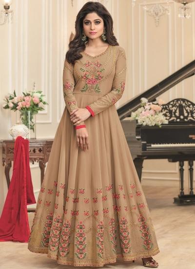 Shamita Shetty Beige georgette wedding wear anarkali 8040