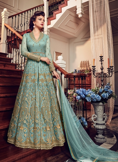 Blue color net party wear Lehenga kameez 5804