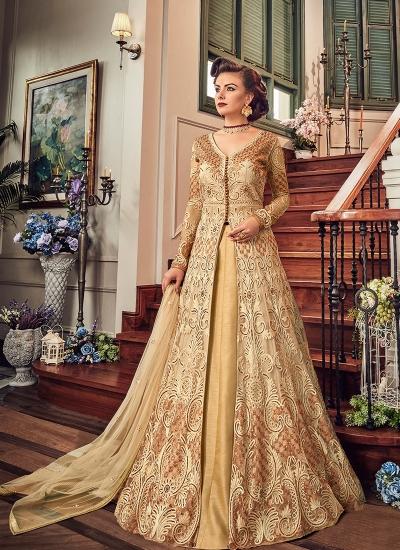 Cream color georgette party wear Lehenga kameez 5806