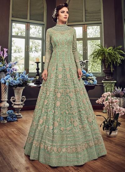 Green color georgette party wear Lehenga kameez 5810