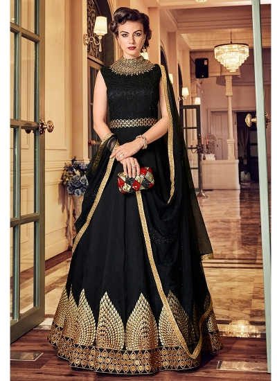 Black color banglori silk party wear anarkali kameez 5811