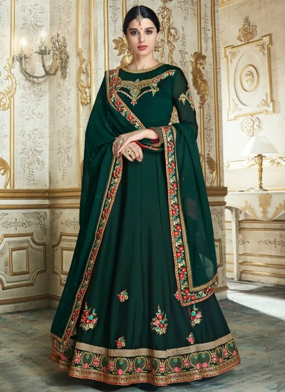 Green color barfi silk wedding wear anarkali 3005