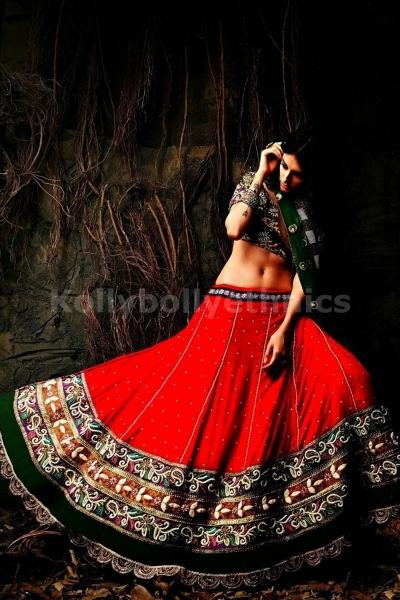Green and red colour bridal lehenga choli