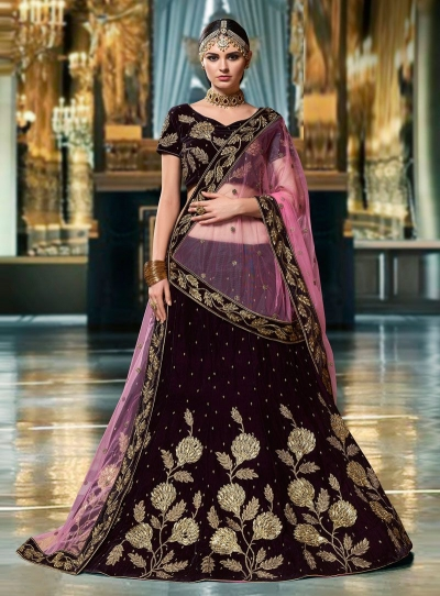 Wine color velvet wedding lehenga choli 1105