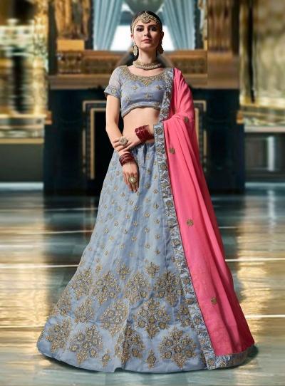Grey Organza wedding wear lehenga choli 1107